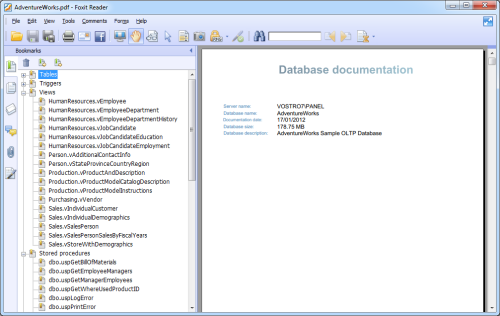 PDF Database documentation output